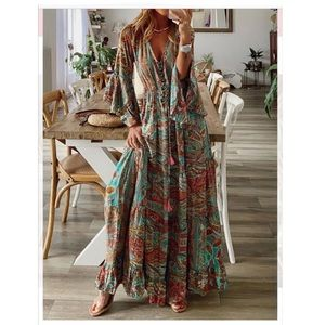 New Chic Plus Size Vintage Boho Hippie Shift Holiday 3/4 Sleeve Dress XL